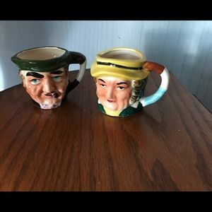 """Pair of Vintage Toby Face Mugs approx 3"""" tall"""